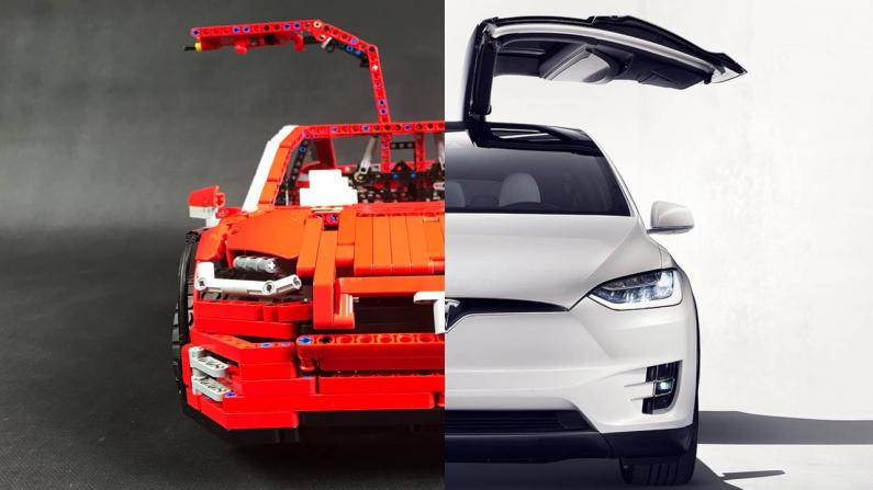Tesla Model X no Lego klucīšiem
